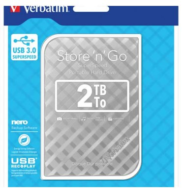 "VERBATIM Disque dur 2,5"" USB 3.0 Store'N'Go Style 2To Gris 53198 + redevance"