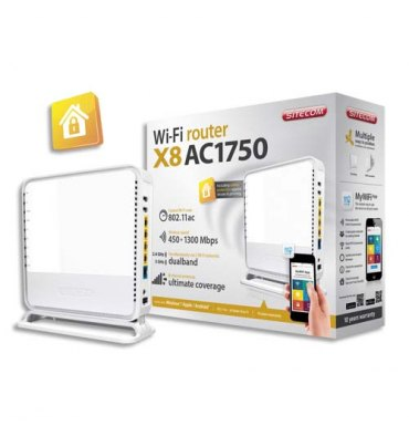 SITECOM Router AC1750 Wi-Fi Dual-band 450+1300 Mbit/s inclus port USB3.0 & USB2.0 iOS/Android WLR-8100