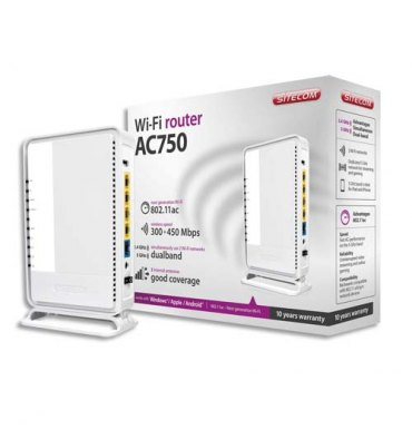 SITECOM Router AC750 Wi-Fi Dual-band 300+450 Mbit/s inclus port USB 2 + 4 ports Gigabit iOS/Android WLR-5002