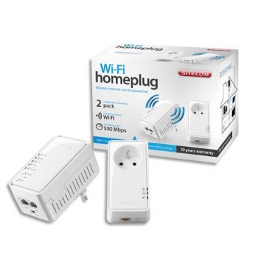 SITECOM Prise CPL murale 1 prise Wi-Fi/1prise secteur, 2 ports Ethernet, 500 Mbps LN-555FR