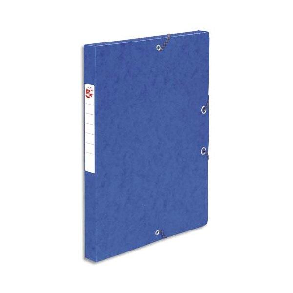 5 ETOILES Boîte de classement à élastique en carte lustrée 7/10, 600g. Dos 25 mm. Coloris bleu (photo)