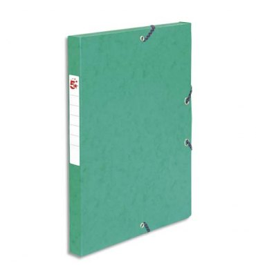 5 ETOILES Boîte de classement à élastique en carte lustrée 7/10, 600g. Dos 25 mm. Coloris vert