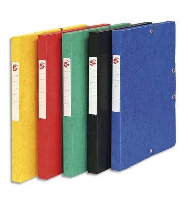 5 ETOILES Boîtes de classement à élastique en carte lustrée 7/10e, 600g. Dos 25 mm. Coloris assortis