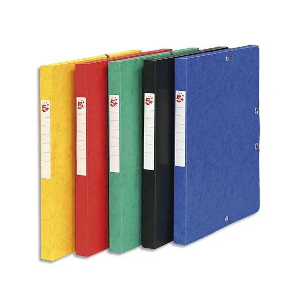 5 ETOILES 10 boîtes de classement à élastique en carte lustrée 7/10, 600g. Dos 25 mm. Coloris assortis (photo)