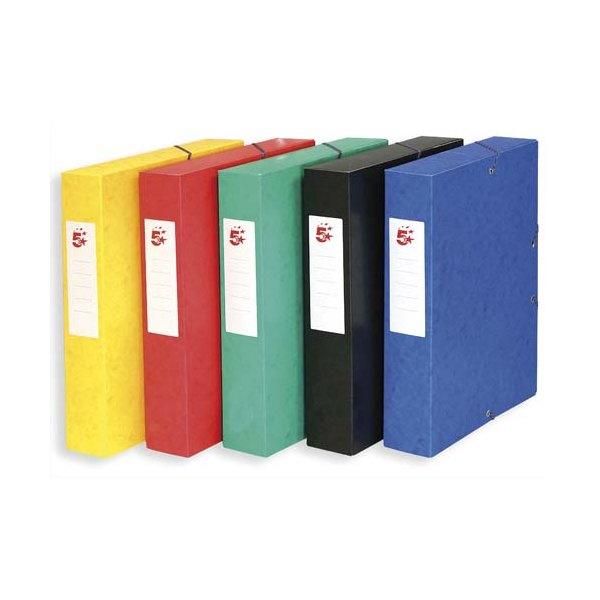 5 ETOILES 10 boîtes de classement à élastique en carte lustrée 7/10, 600g. Dos 60 mm. Coloris assortis (photo)