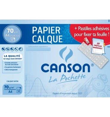 CANSON 10 Pochettes de 12 feuilles papier calque satin 70g A4 livrée avec pastilles repositionnables