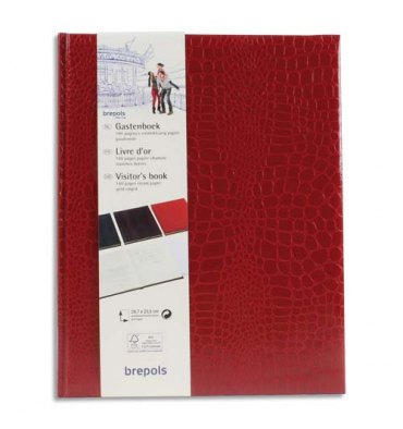 BREPOLS Livre d'or 23,5 x 29,7 cm BELLEGANZA 160 pges unies ivoires. Couverture grain crocodile rge/bordeauxa