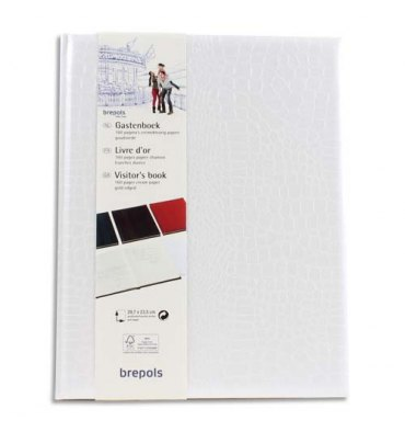 BREPOLS Livre d'or 23,5 x 29,7 cm BELLEGANZA 160 pages unies ivoires. Couverture grain crocodile blanche