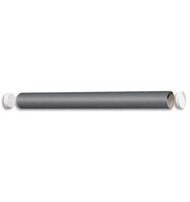 EMBALLAGE Tube d'expédition en carton gris avec embouts amovibles plastique 40 x 430 mm