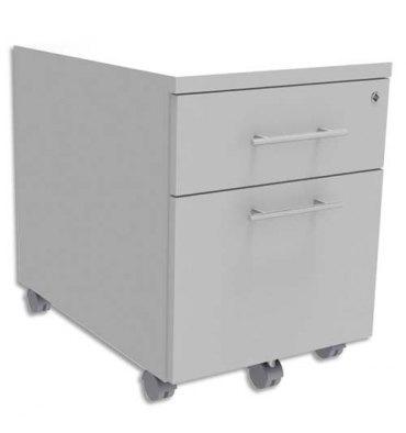 SIMMOB Caisson mobile 2 tiroirs + plumier, façade Blanc perle INEO - L42 x H56 x P50 cm