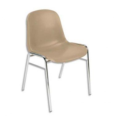 Chaise Coque beige Didiplast sans accroche, piètement en acier chromé, empilable 40 x 40 cm, hauteur 81 cm
