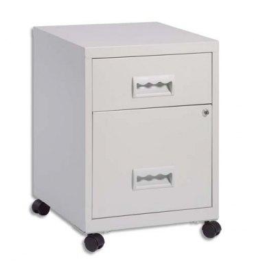 PIERRE HENRY Caisson Combi 2 tiroirs à roulettes gris, 1 tiroir pour dossiers suspendus - L40 x H57 x P40 cm