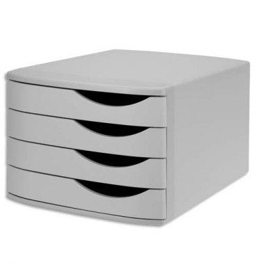 JALEMA Module de classement 4 tiroirs, 100% recyclé polystyrène - Dimensions L30 x H21,6 x P37,5 cm gris