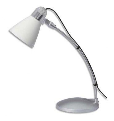 MAUL Lampe Flora fluorescente livrée avec ampoule bras métal laqué gris, hauteur 24 cm coloris blanc