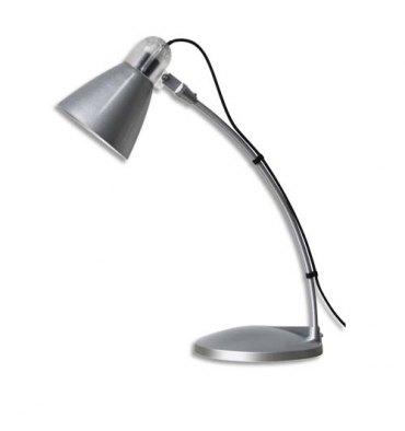 MAUL Lampe Flora fluorescente livrée avec ampoule bras métal laqué gris, hauteur 24 cm coloris argenté