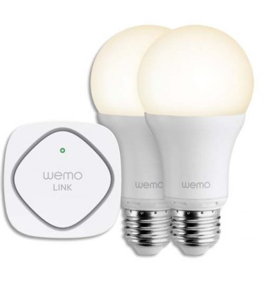 BELKIN Lot 2 Ampoules WeMo LED Smart Light à vis + Adaptateur Plug ZigBee comptible IOS et Android
