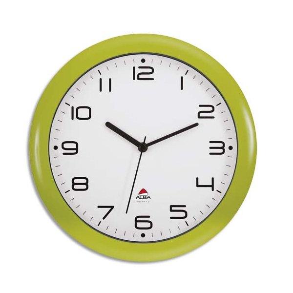 alba horloge murale hormur hornew silencieuse diam 30 cm vert. Black Bedroom Furniture Sets. Home Design Ideas
