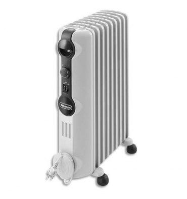 DELONGHI Radiateur bain d'huile mobile 2000W 3 allures de chauffe - gris clair