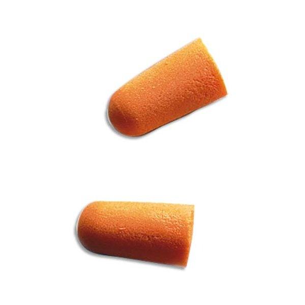 3M Boîte de 200 paires de Bouchons d'oreilles jetables en mousse souple conique orange (photo)