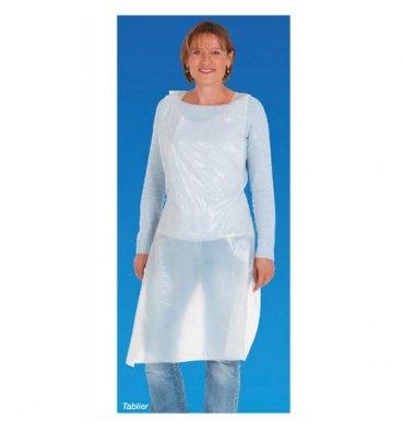 Paquet de 100 tabliers à usage unique en polyéthylène blanc - Longueur 117 cm, largeur 70 cm