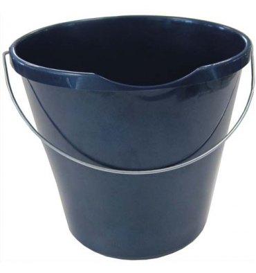 BROSSERIE THOMAS Seau rond bleu en polypropylène capacité 12 Litres avec bec verseur et une anse en métal