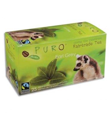 PURO Boîte de 25 sachets de thé Earl Grey enveloppés 2g Fairtrade Tea