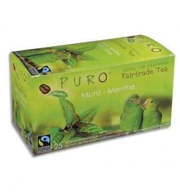 PURO Boîte de 25 sachets de thé Menthe enveloppés 2g Fairtrade Tea