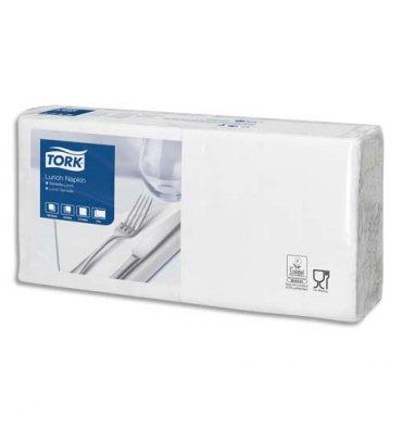 TORK Paquet de 200 Serviettes LunchNap blanches 2 plis - Format : 33 x 33 cm Ecolabel