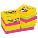 POST-IT Lot de 12 blocs Super Sticky Rio 90 feuilles 4,76 x 4,76 mm - Coloris assortis