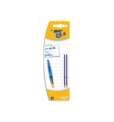 BIC Blister 2 recharges pour stylo bille TWIST BEGINNERS. Pointe large, encre bleue