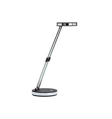 MAUL Lampe Puck LED, noir, double bras télescopique en acier, tête inclinable 180°, commutateur sur socle