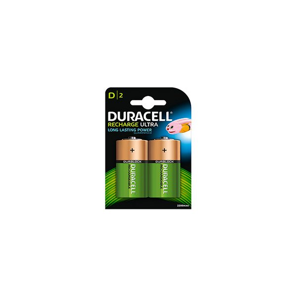 DURACELL Blister de 2 accus rechargeables 1,2V D/HR20 2200 mAh (photo)