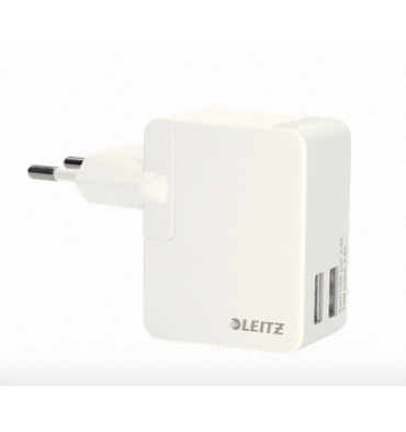 LEITZ Chargeur USB 2 ports 12 watt blanc