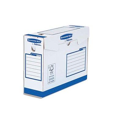 BANKERS BOX Boîtes archives dos de 10 cm HEAVY DUTY. Montage manuel, en carton blanc/bleu
