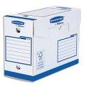 BANKERS BOX Boîtes archives dos de 20 cm HEAVY DUTY. Montage manuel, en carton blanc/bleu