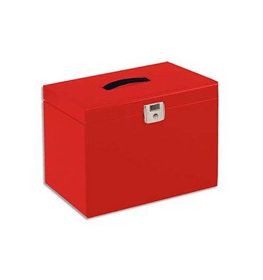 PIERRE HENRY Valise de classement en métal. Livrée avec 5 dossiers. Dim : 36,5 x 28 x 22 cm. Coloris rouge