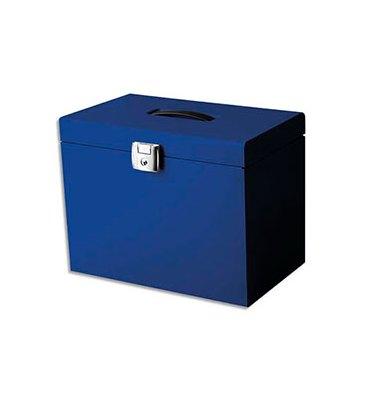 PIERRE HENRY Valise de classement en métal. Livrée avec 5 dossiers. Dim : 36,5 x 28 x 22 cm. Coloris bleu