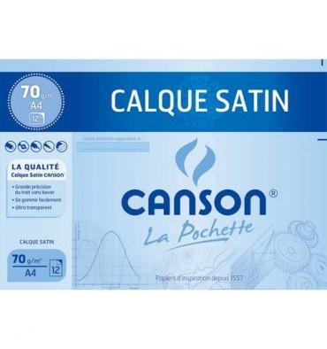 CANSON Pochettes 12 feuilles papier calque 24 x 32 cm 70g avec pastilles repositionnables