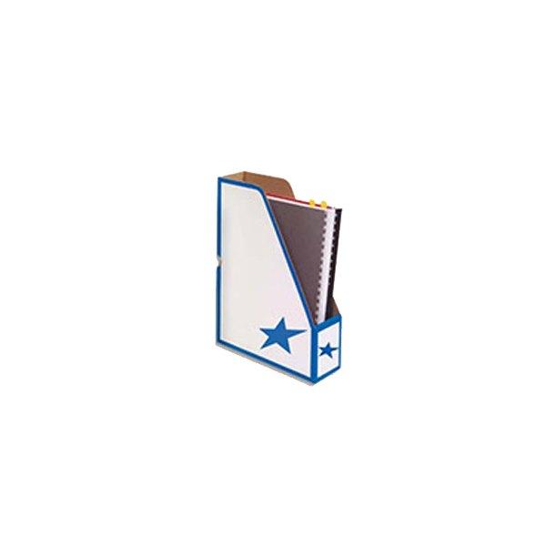 5 ETOILES 10 porte-revues en carton ondulé dos de 8 cm, kraft blanc imprimé bleu (photo)