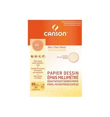 CANSON Bloc papier dessin millimétré 25 feuilles A4 90g