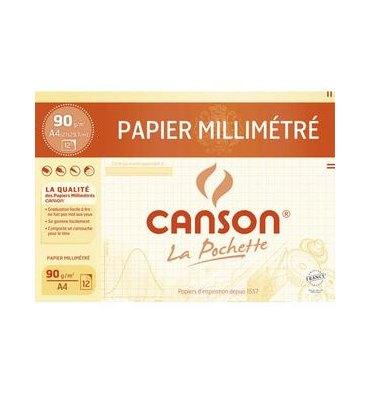 CANSON Pochette de 12 feuilles dessin millimétré bistre 72g A4