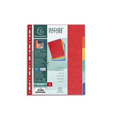 EXACOMPTA Jeu d'intercalaires 6 positions en carte lustrée 5/10e format A4 225g