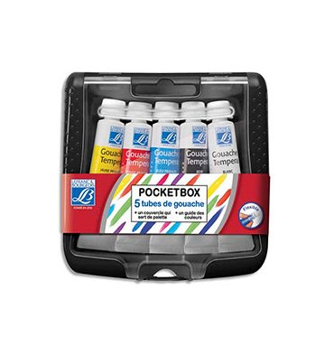 LEFRANC & BOURGEOIS Pocket box en plastique de 5 tubes de gouache 10 ml. Coloris assortis