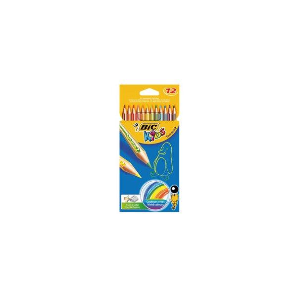 BIC KIDS Etui 12 crayons de couleur TROPICOLOR2 (version sans bois). Coloris assortis (photo)