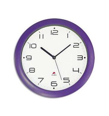 ALBA Horloge murale Hormur/Hornew silencieuse prune - pile AA non fournie - Diam 30cm