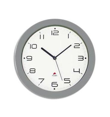 ALBA Horloge murale Hormur/Hornew silencieuse métal gris - pile AA non fournie - Diam 30cm