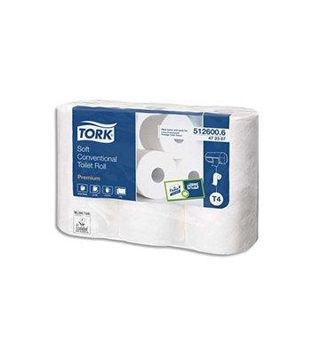 TORK Paquet de 6 rouleaux Papier toilette Traditionnel Premium doux 2 plis 150 feuilles Ecolabel