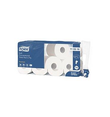 TORK Paquet de 8 rouleaux Papier toilette Traditionnel doux Premium 3 plis 250 feuilles