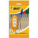 BIC Pochette de 10 stylos à bille pointe moyenne 4 couleurs d'encre corps plastique transparent CRISTAL