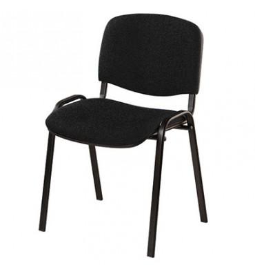 Chaise de conférence Iso Classic en tissu polyfibre noir, structure 4 pieds en métal époxy noir